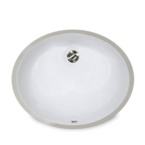 Nantucket Sinks UM-15x12-W 15-Inch by 12-Inch Oval Ceramic Undermount Vanity Sink, ()