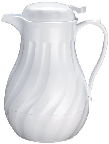 (Winco Push Button Insulated Beverage Server with Swirl Design, 42-Ounce, White - Set of 3)