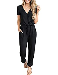 13a245dc320 Women s Casual Short Sleeve Elastic Waist Jumpsuit Rompers Black