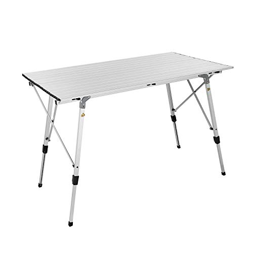 Tiptiper Camping Table Roll up Table 46.5″x26.8″ Aluminum Folding Table with Carrying Bag, Portable Picnic Table for BBQ, Cooking, Outdoor and Home Use