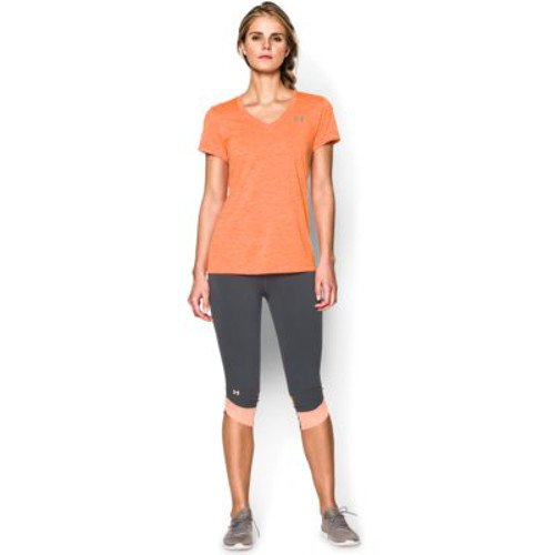 Under Armour Women's Tech Twist V-Neck, Cyber Orange /Metallic Silver, X-Small by Under Armour (Image #6)