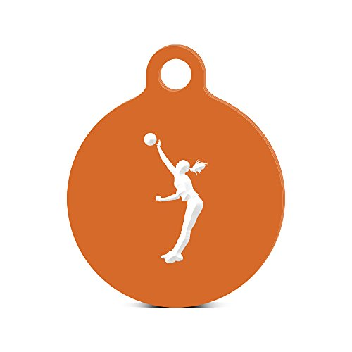 Girl Silouette (Womens Volleyball Round Keychain with Tab engraved girl Spike Silouette Orange)