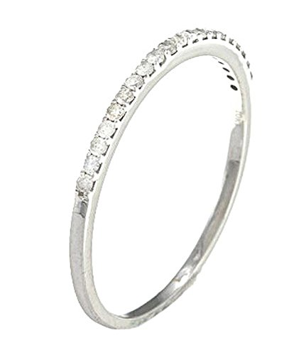 10k White Gold Thin Diamond Wedding Band (1/7 cttw, I J Color, I2 I3 Clarity)