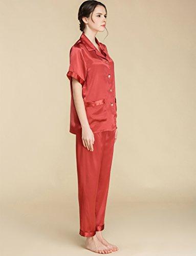 Pur Shortsleeve De Soie Femmes Lovesilk Pyjamas Vêtements De Nuit Rouge Cadeau Pjs