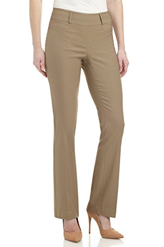 Rekucci Women's Ease in to Comfort Fit Barely Bootcut Stretch Pants (2SHORT,Oatmeal)