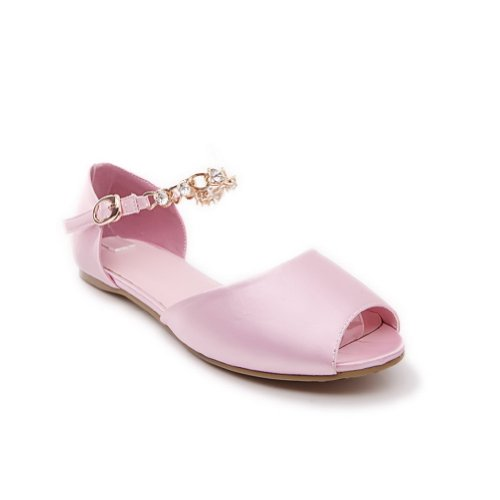 AmoonyFashion Womens Open Peep Toes Soft Material PU Solid Sandals with Metalornament Pink iGenNs2qw6