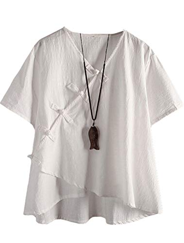 LaovanIn Women's Linen Blouse Tops V Neck Short Sleeve Vintage Tunic Casual Shirts White Large