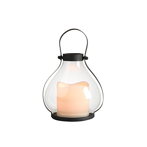 Gerson Everlasting Glow 41559 Battery Operated Metal and Glass School House Lantern with 3 by 3