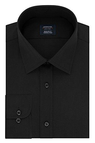 Arrow Men's Regular Fit Dress Shirt Poplin, deep Black, 18-18.5