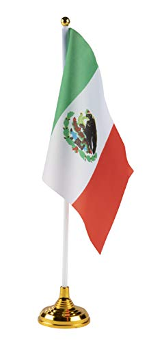 Juvale Mexican Desk Flags - 24-Piece Desktop Flags with Stick and Gold Stand, Mexico Flag Table Decoration, 8.5 x 5.5 Inches -