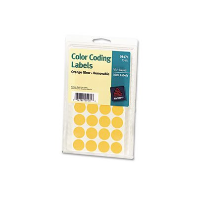 Print or Write Removable Color-Coding Labels, 3/4in dia, Neon Orange, 1008/Pack