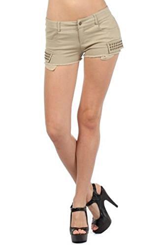 TheLovely Twill Spandex Raw Hem Daisy Dukes Stud Embellished Skinny Shorts (Large, Khaki) -