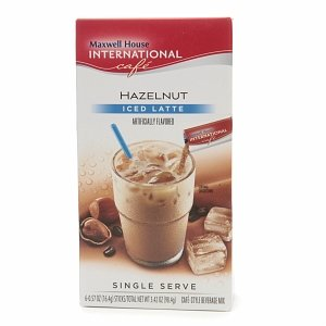 Maxwell House International Cafe Iced Latte Cafe-Style Beverage Mix, Single Serve Packets, Hazelnut 6 ea (pack of 5)