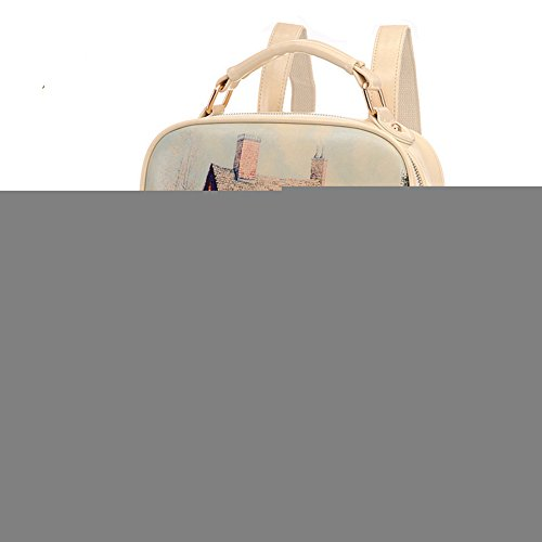 Roselife™ Fashion Designer Trendy Prints Leather College Students Backpack, Creamy White - Christian Dior Designer Purse