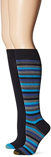 Gold Toe Women's Stripe Extended Size Knee High Sock, Navy Stripes/Navy, 10-12 (Pack of 2)