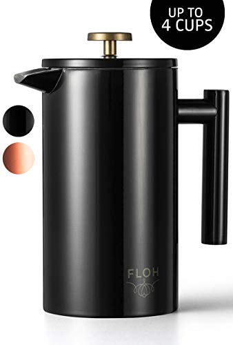 FLOH French Press for Coffee & Tea in Black Gloss – 34 Oz Insulated Stainless Steel Coffee Maker