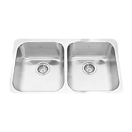 Double Bowl Stainless Steel Kitchen Sink.Kindred Qdua1831 8 Steel Queen Undermount Double Bowl