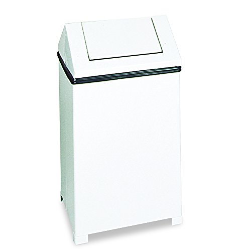 Hinged Top Trash Receptacle - Rubbermaid Commercial T1424ERBWH Fire-Safe Swing Top Receptacle, Square, Steel, 24gal, White