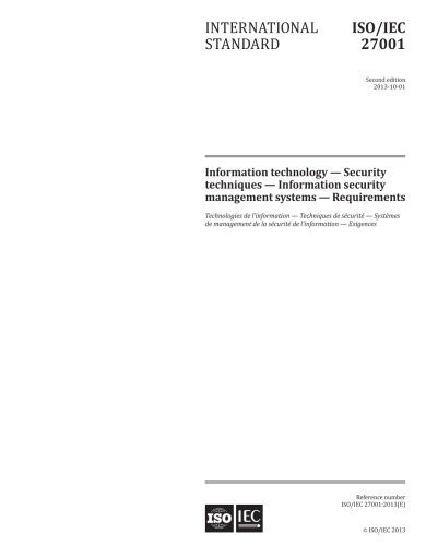 ISO/IEC 27001:2013, Second Edition: Information technology - Security techniques - Information security management systems - Requirements (American Security Systems)