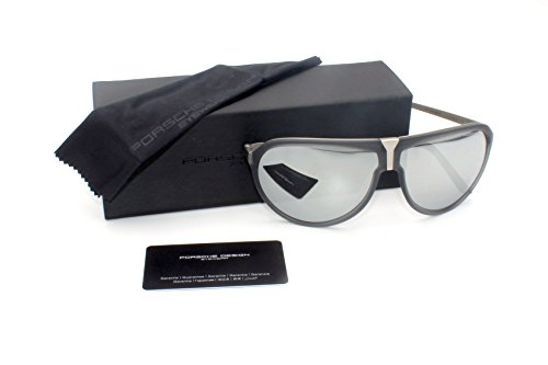 PORSCHE DESIGN Men Sunglasses P8619 C Gray Transparent / Gray Mirrored - Design Porsche Aviators