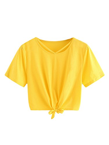 (SweatyRocks Women's Loose Short Sleeve Summer Crop T-Shirt Tops Blouse Yellow#3 S)