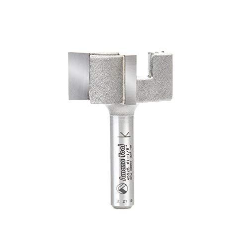 Amana Tool 45525 Carbide Tipped 1-1/8 Dia x 1/2 CH x 1/4 Shk x 1-19/32 Long Spoilboard Surfacing 3-Flute Router Bit
