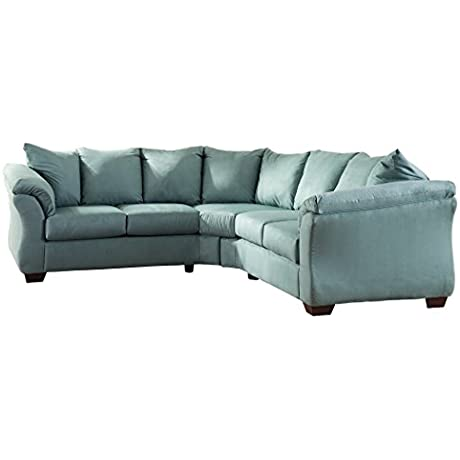 Ashley Furniture Signature Design Darcy 2 Piece Sectional Left Arm Right Arm Facing Loveseat Sofa Sky Blue