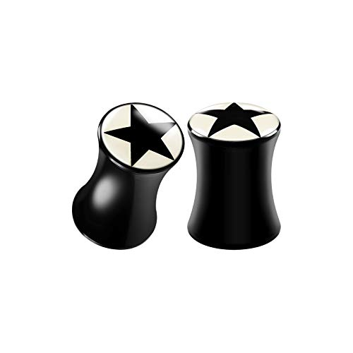 (BIG GAUGES Pair of Acrylic 2gauges 6 mm Double Flared Saddle Black Star Logo Piercing Jewelry Stretcher Earring Ear Lobe Plugs BG2723 )