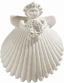 Margaret Furlong Wreath Angel Made in USA Porcelain Christmas Ornament