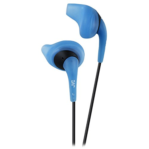 JVC Blue and Black Nozzel Secure Comfort Fit Sweat Proof Gumy Sport Earbuds with long colored cord HA-EN10A