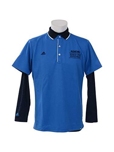 アディダス Adidas 半袖シャツ?ポロシャツ adicross 3ストライプ レイヤード半袖ポロシャツ ブルー L