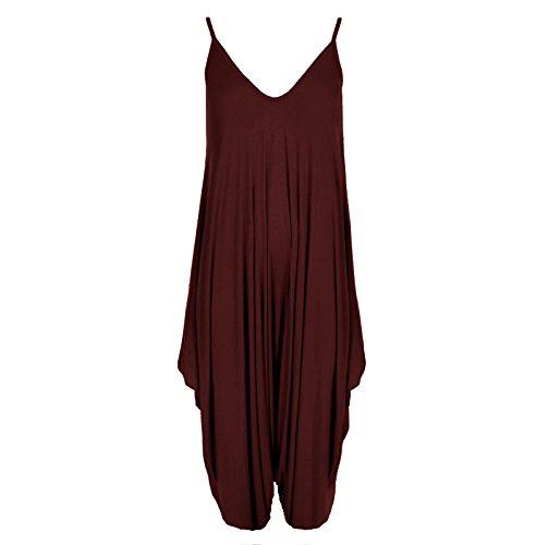 Neuf Femmes Caraco Lagenlook Barboteuse En Vrac Combinaison Sarouel Combinaison Pantalon Grande Taille - Femmes, Bordeaux, M/L - (40-42)