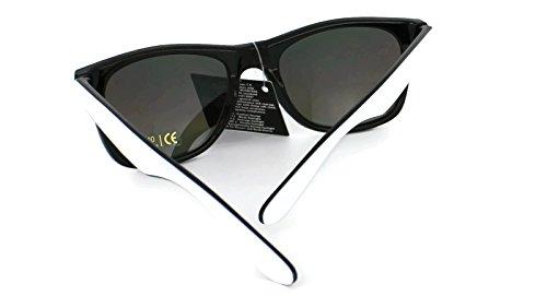 UV400 amp; Lens New Retro Lentes Vintage dos Gafas de Black Classic reflective tonos Unisex sol Wayfarer White Espejo Blue de frame wwOBZSq