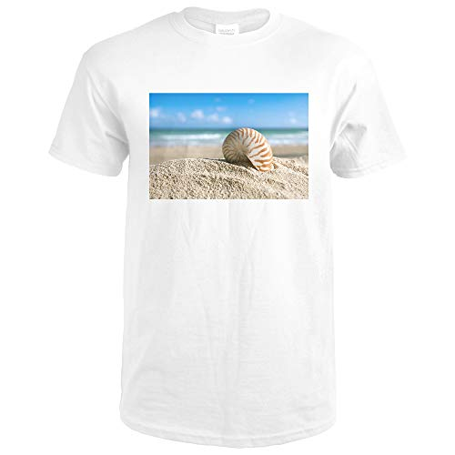 Nautilus Shell with Ocean Photography A-93647 93647 (Premium White T-Shirt XX-Large)