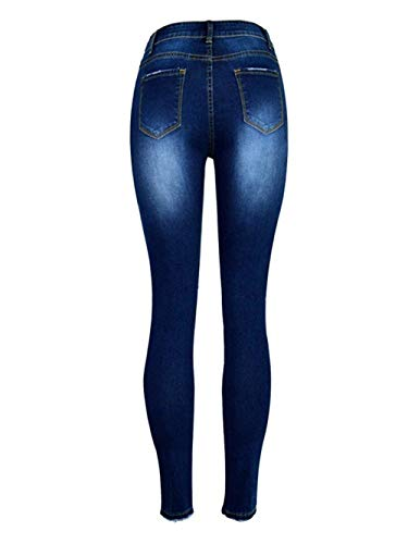 Biran Di Vita Dunkelblau Grazioso Da Perla Tasche Con Strappati Donna Pantaloni Skinny E Distrutto Foro Jeans A Media Bottone XrwnfZUqr