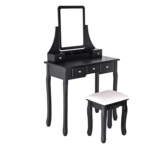 Vanity Set,Lucoo Dressers Makeup Table with Oval Mirror Bedroom Dressing Table with Stool for Girls Women Bedroom Furniture (US Store) (Black, 31.5