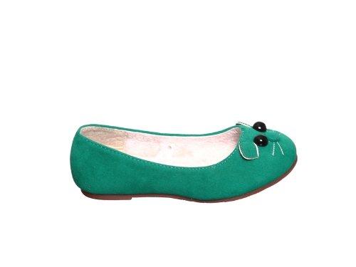 Cute Kitty Cat Face GIRL Low Heel Comfort Slip-On Ballerina Flats (4, green) (Cat Low Shoe)