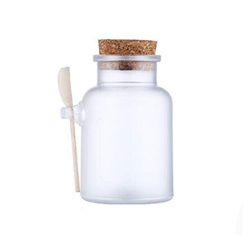 (1pcs 500ml/500g/16.7oz Empty Round Frosted Clear Plastic Bath Salt Storage Containers Bottle Jars With Cork Stopper and Wooden Spoon For Cosmetic Face Mask Powder Seasoning Sauce Honey Nuts Flower Tea )