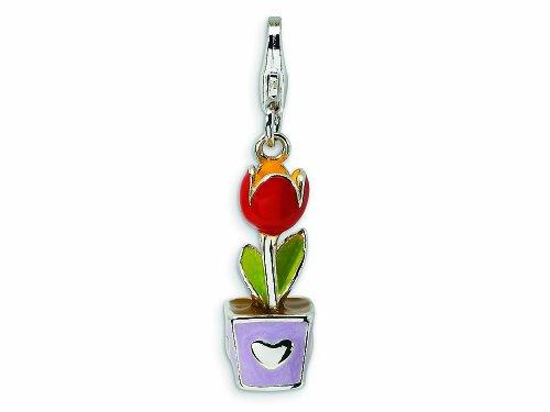 (Amore LaVita 3-D Enameled Tulip Flower Pot Lobster Clasp Bracelet Charm)