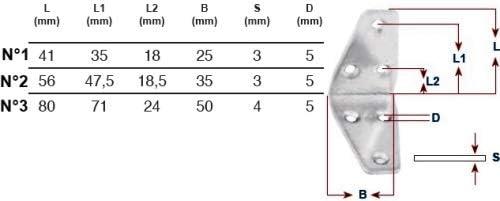 Lot de 10 Equerre 56x56mm INOX A2 Epaisseur 3mm