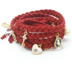 niceeshop(TM) Fashion Synthetic Leather Woven Bracelet with Charms,Red