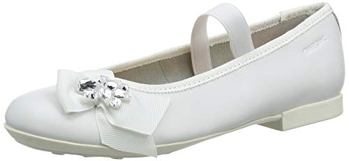 Geox Girls' PLIE 54 Ballet Flat with Elastic Strap Mary Jane, White, 32 Medium EU Little Kid (1 US) - Geox Leather Mary Janes
