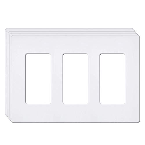 [5 Pack] BESTTEN 3-Gang Screwless Wall Plate, USWP6 Snow White Series, Decorator Outlet Cover, 4.69 x 6.54, for Light Switch, Dimmer, GFCI, USB Receptacle, UL Listed