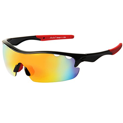 LianSan Half-rim Mens Memorial Sports Sunglasses for Driving Biking Cycling Fishing with Explosion-proof Lenses LS711 Red (Proof Memorial)