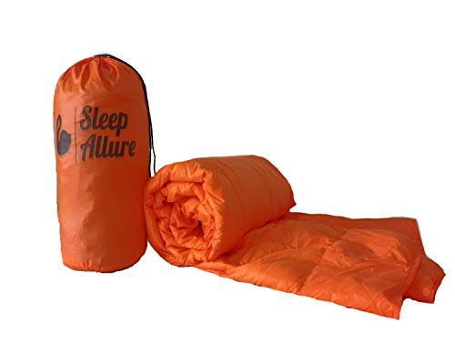 Sleep Allure Camping Blanket Indoor Outdoor Puffy 600 Fill Power Duck Down Throw with Buttons for Camping Hiking Blue (Orange) [並行輸入品] B07R4WQ4GY