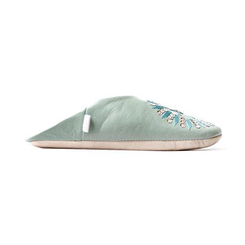 Beste Marokko Babouche Lovertjes Schapenvacht Slippers Bahia Blauw