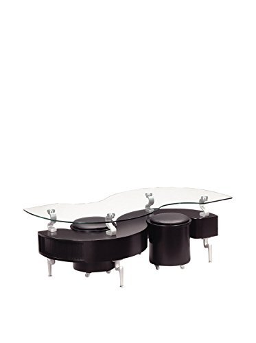 (Global Furniture Black Occasional Coffee Table with Silver Legs)