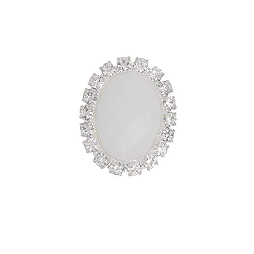 (Maslin 25mm Oval Acrylic Rhinestone Buttons Flat Back Craft DIY Gem Embellishments for Wedding Invitation Card Or Hair Bow with Crystal - (Color: 5 Porcelain Button, Size: Shank Style))