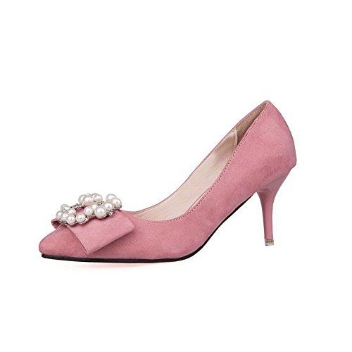 Joyas Esmerilado Mujer salón Diamante de con Imitación Puntera De Tacón aguja Punta de en AalarDom Rosa 4Zxqw4