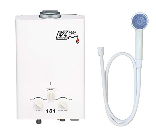 EZ 101 Tankless Water Heater - Propane (LPG) - Portable - Battery Powered Ignition - Camping - RV - FREE UPGRADE